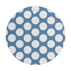 Blue Polkadot Round Ornament