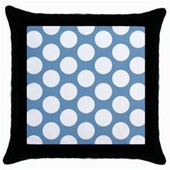 Blue Polkadot Black Throw Pillow Case
