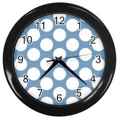 Blue Polkadot Wall Clock (Black)