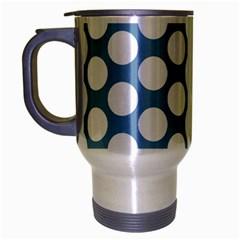 Blue Polkadot Travel Mug (Silver Gray)