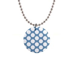 Blue Polkadot Button Necklace
