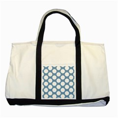 Blue Polkadot Two Toned Tote Bag