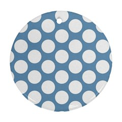 Blue Polkadot Round Ornament (two Sides)