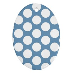 Blue Polkadot Oval Ornament (two Sides)