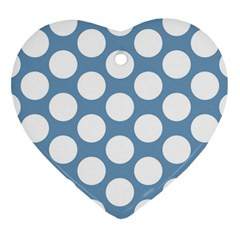 Blue Polkadot Heart Ornament (Two Sides)