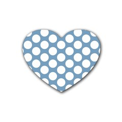 Blue Polkadot Drink Coasters 4 Pack (Heart)