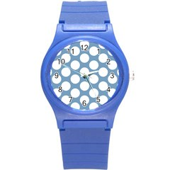 Blue Polkadot Plastic Sport Watch (Small)