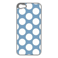 Blue Polkadot Apple iPhone 5 Case (Silver)