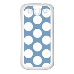 Blue Polkadot Samsung Galaxy S3 Back Case (white)