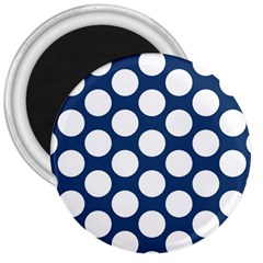 Dark Blue Polkadot 3  Button Magnet