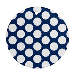 Dark Blue Polkadot Round Ornament