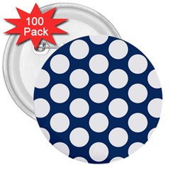 Dark Blue Polkadot 3  Button (100 Pack)