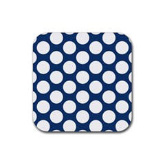 Dark Blue Polkadot Drink Coaster (square)