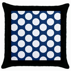 Dark Blue Polkadot Black Throw Pillow Case