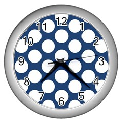 Dark Blue Polkadot Wall Clock (silver)