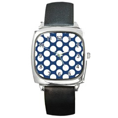 Dark Blue Polkadot Square Leather Watch