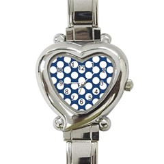 Dark Blue Polkadot Heart Italian Charm Watch
