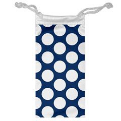Dark Blue Polkadot Jewelry Bag