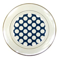 Dark Blue Polkadot Porcelain Display Plate