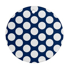 Dark Blue Polkadot Round Ornament (Two Sides)