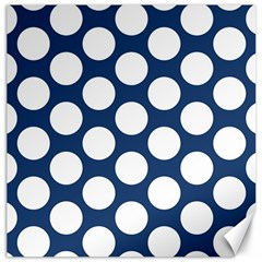 Dark Blue Polkadot Canvas 12  x 12  (Unframed)