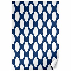 Dark Blue Polkadot Canvas 12  x 18  (Unframed)