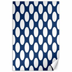 Dark Blue Polkadot Canvas 24  x 36  (Unframed)