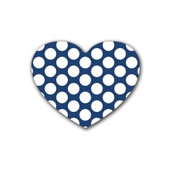 Dark Blue Polkadot Drink Coasters 4 Pack (Heart)