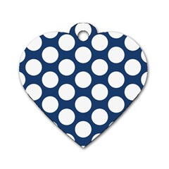 Dark Blue Polkadot Dog Tag Heart (Two Sided)