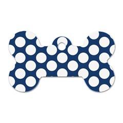 Dark Blue Polkadot Dog Tag Bone (One Sided)
