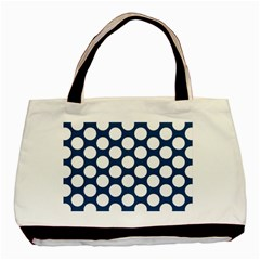 Dark Blue Polkadot Twin-sided Black Tote Bag