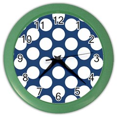 Dark Blue Polkadot Wall Clock (Color)