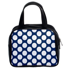 Dark Blue Polkadot Classic Handbag (two Sides)