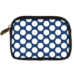 Dark Blue Polkadot Digital Camera Leather Case