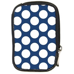 Dark Blue Polkadot Compact Camera Leather Case