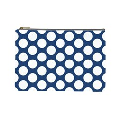 Dark Blue Polkadot Cosmetic Bag (Large)