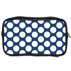 Dark Blue Polkadot Travel Toiletry Bag (two Sides)