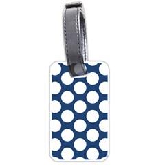 Dark Blue Polkadot Luggage Tag (One Side)
