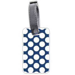 Dark Blue Polkadot Luggage Tag (Two Sides)