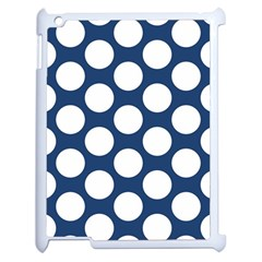 Dark Blue Polkadot Apple iPad 2 Case (White)