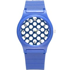 Dark Blue Polkadot Plastic Sport Watch (Small)