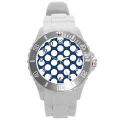 Dark Blue Polkadot Plastic Sport Watch (large)