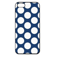 Dark Blue Polkadot Apple Iphone 5 Seamless Case (black)
