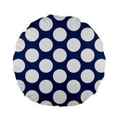 Dark Blue Polkadot 15  Premium Round Cushion