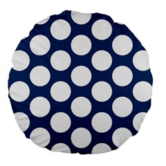 Dark Blue Polkadot 18  Premium Round Cushion