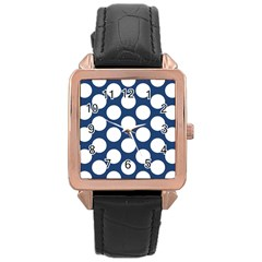 Dark Blue Polkadot Rose Gold Leather Watch
