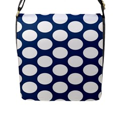 Dark Blue Polkadot Flap Closure Messenger Bag (large)