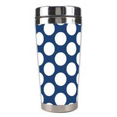 Dark Blue Polkadot Stainless Steel Travel Tumbler