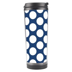 Dark Blue Polkadot Travel Tumbler