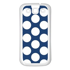 Dark Blue Polkadot Samsung Galaxy S3 Back Case (White)